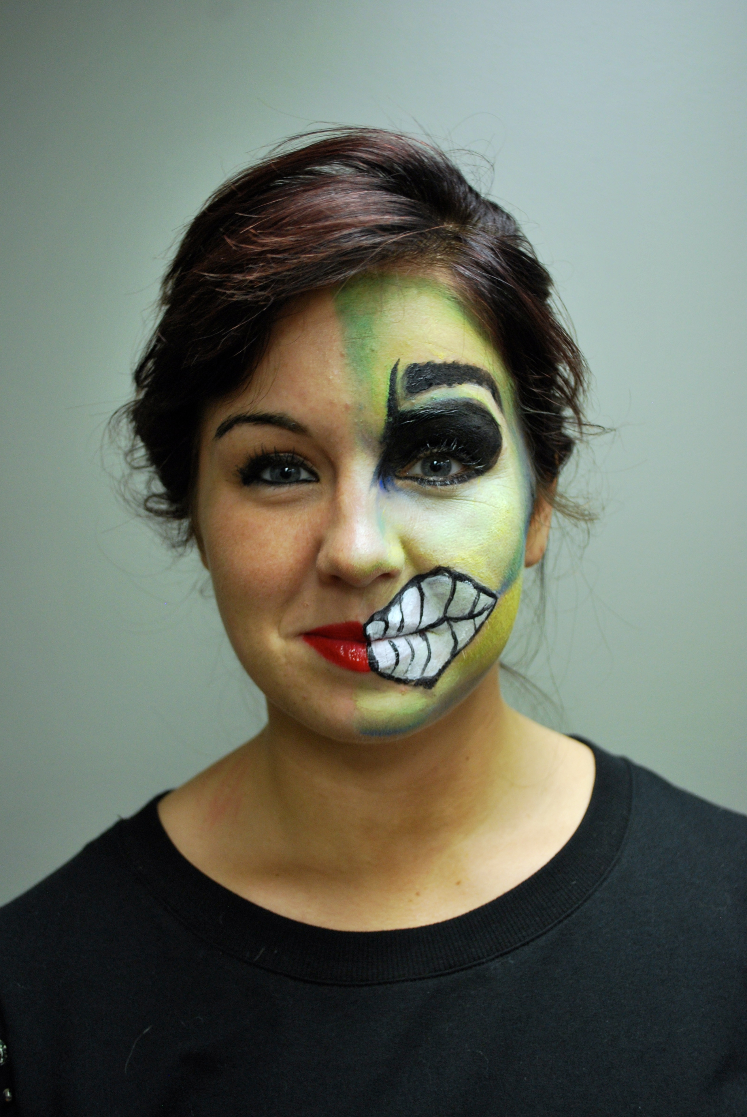 Halloween Makeup on student Haley Hardman at Amber's Beauty School