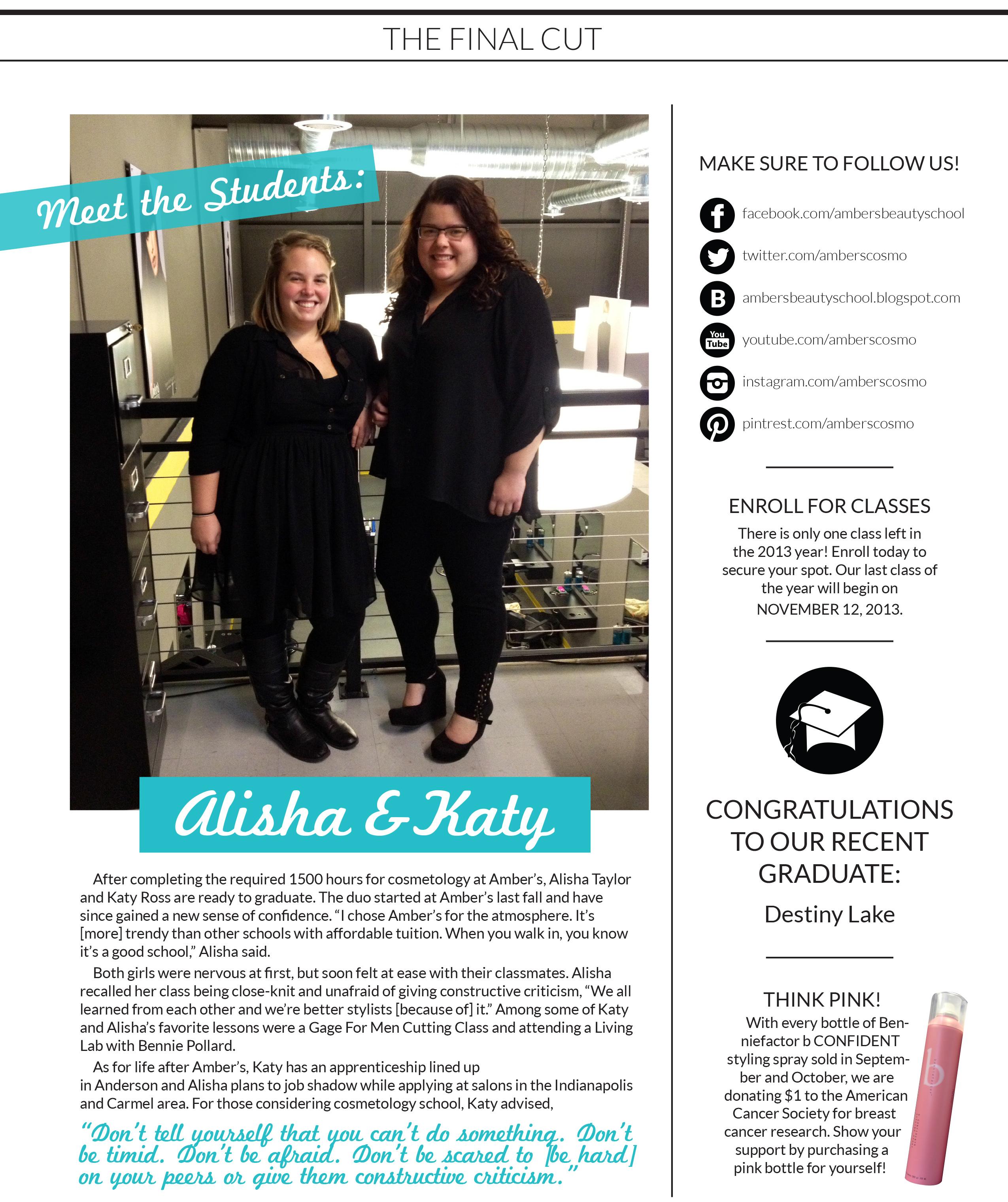 Amber's Beauty School - October 2013 Newsletter