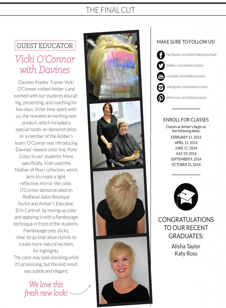 Amber's Beauty School - November 2013 Newsletter
