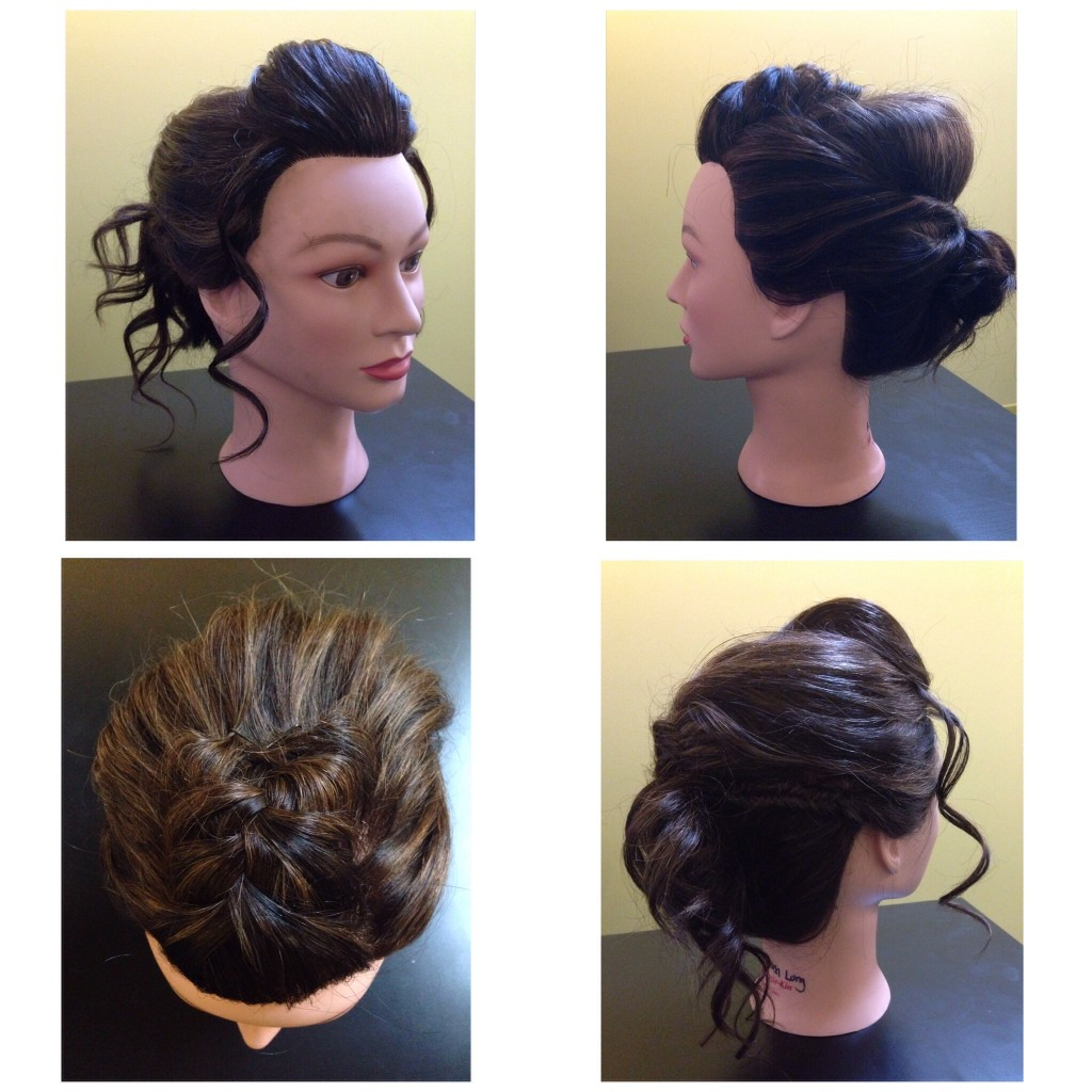 Curled and braided updo by Amber's Beauty School students