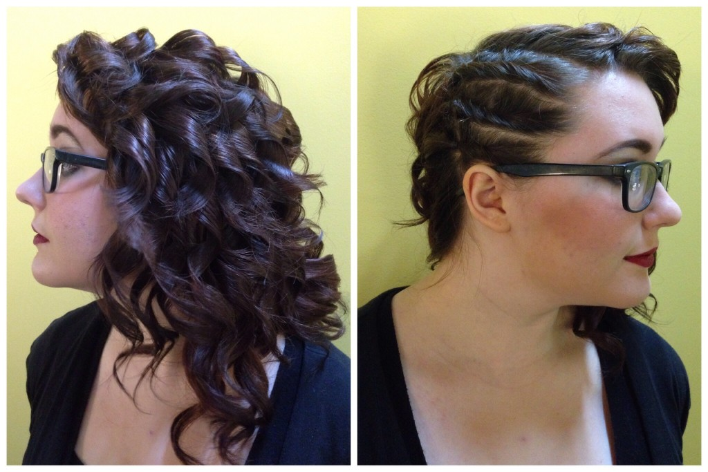 Curled and twisted hair by Amber's Beauty School students