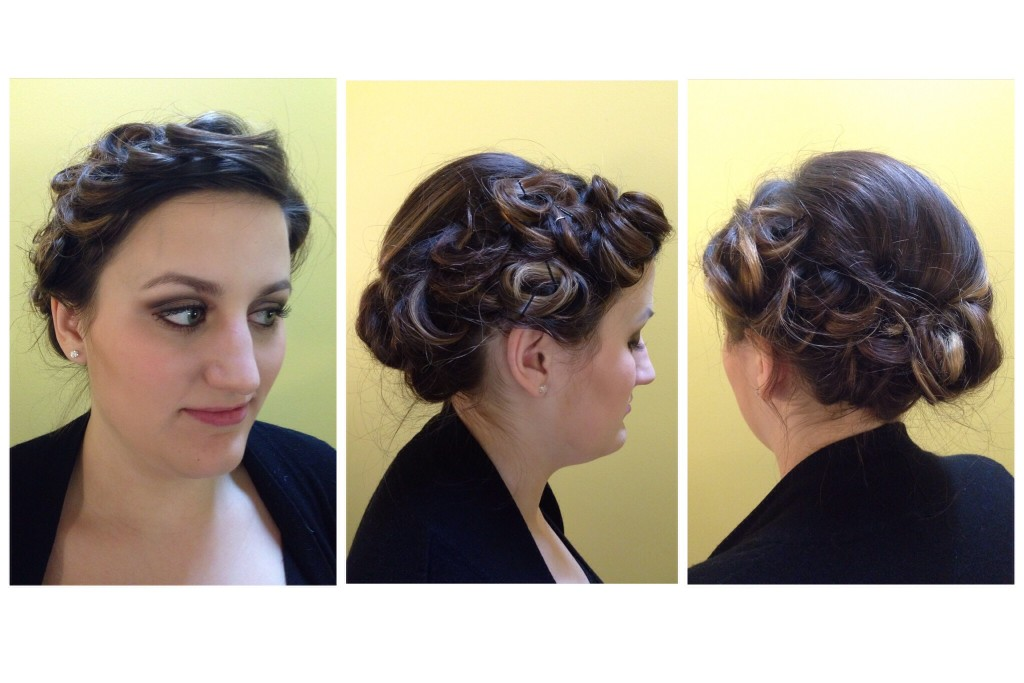 Curled updo by Amber's Beauty School students