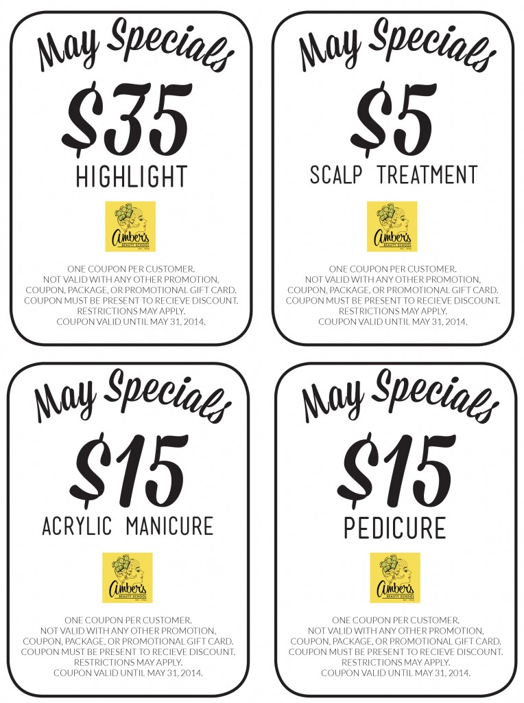 Amber's Beauty School May 2014 Coupons